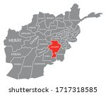 ghazni red highlighted in map... | Shutterstock .eps vector #1717318585