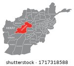 ghowr red highlighted in map of ... | Shutterstock .eps vector #1717318588