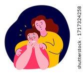 woman hug support maintain... | Shutterstock .eps vector #1717324258