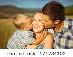 family portrait. happy parents ... | Shutterstock . vector #171734102