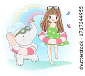 cute girl painted design  with... | Shutterstock .eps vector #1717344955