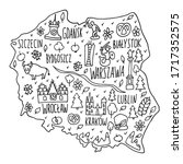 hand drawn doodle poland map.... | Shutterstock .eps vector #1717352575