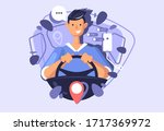 a young guy driving a car.... | Shutterstock .eps vector #1717369972