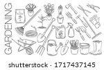 gardening tools and plants or... | Shutterstock .eps vector #1717437145