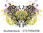 colored floral butterfly wings... | Shutterstock . vector #1717456558