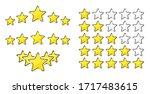 five golden rating star vector... | Shutterstock .eps vector #1717483615