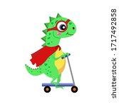 cute dinosaur on a scooter....   Shutterstock .eps vector #1717492858