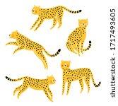 cute cheetahs cartoon vector set | Shutterstock .eps vector #1717493605