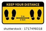 social distancing. footprint...   Shutterstock .eps vector #1717498318