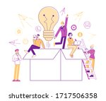 think outside concept. tiny... | Shutterstock .eps vector #1717506358