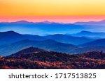 Sunset over the blue ridge Appalachian mountains in North Carolina.