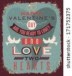 valentines day retro style... | Shutterstock .eps vector #171752375