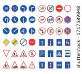 traffic sign road collection.... | Shutterstock .eps vector #1717589848