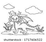 Cute Cartoon Horned Dragon And...