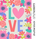 cute typography design with... | Shutterstock .eps vector #1717608895