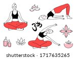 young woman in different yoga... | Shutterstock .eps vector #1717635265