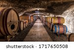 Old Cellar With Bottles And...