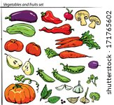 set of delicious vegetables and ... | Shutterstock .eps vector #171765602