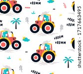 hand drawing tractor and worker ... | Shutterstock .eps vector #1717663495