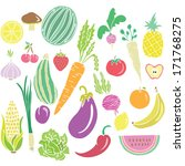 fruits and vegetables vector set | Shutterstock .eps vector #171768275