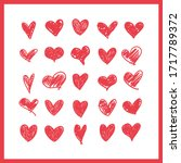 doodle hearts  hand drawn love...   Shutterstock .eps vector #1717789372