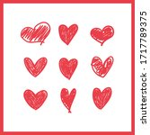 doodle hearts  hand drawn love... | Shutterstock .eps vector #1717789375