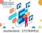 communication and social media. ... | Shutterstock .eps vector #1717834912