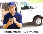 delivery  man checking portable ... | Shutterstock . vector #171790508