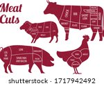 meat cuts guide illustration... | Shutterstock .eps vector #1717942492
