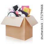 cardboard box full of stuff...   Shutterstock . vector #171794666