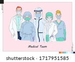 colorful vector of covid 19... | Shutterstock .eps vector #1717951585