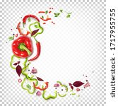 round composition of red and... | Shutterstock .eps vector #1717955755
