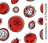 seamless pattern with tomatoes... | Shutterstock .eps vector #1717962658