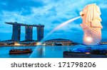 The Merlion Fountain Lit Up At...