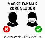 """maske takmak zorunludur  """"it is ...   Shutterstock .eps vector #1717999705"""