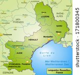 map of languedoc roussillon... | Shutterstock . vector #171800345