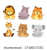 cute animal pack baby tiger... | Shutterstock .eps vector #1718017252