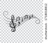 music notes  doodle style ... | Shutterstock .eps vector #1718018812