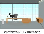 illustration of an office room... | Shutterstock .eps vector #1718040595