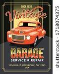 auto service flyer vector... | Shutterstock .eps vector #1718074375