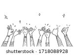 hand drawn of hands clapping... | Shutterstock .eps vector #1718088928