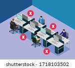 social distancing at office... | Shutterstock .eps vector #1718103502