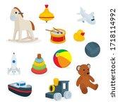 toys. set of cartoon style toys ... | Shutterstock .eps vector #1718114992