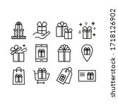 set of gift box icons  such as... | Shutterstock .eps vector #1718126902