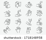 Hand Washing Line Icons Set....