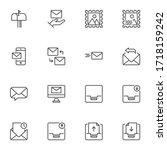 Correspondence Line Icons Set ...
