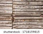 Closed Garage Wooden Door Of...