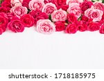 Pink roses bouquet on white...