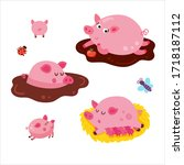 vector set of cute pigs on... | Shutterstock .eps vector #1718187112
