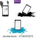 broken smartphone   broken... | Shutterstock .eps vector #1718191072